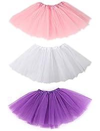 c96bae42fbb675 SIEBENEINSY Tüllrock 3 Set Mädchen Ballett Röcke Tutu Rock Ballettrock Tütü  Tüllrock für Party Mädchen Kostüm…