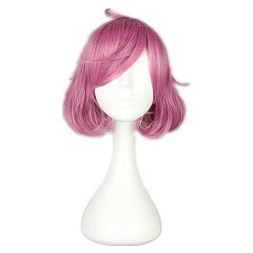 Kostüm Pinky - COSPLAZA Frauen Kurze Locken Schöne Pinky Ahoge Anime Cosplay Kostüm Synthetische Perücke mit Freier Kappe