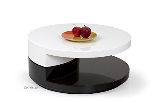 CARELLIA Table Basse Design Ronde Laque – Blanc/Noir