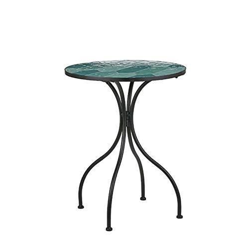Pflanzen-Kölle Tisch River, Naturstein-Mosaik, grün und blau, Durchmesser 60 cm