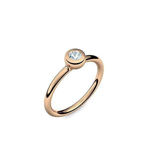 Rosegold Ring Aquamarin 585 + inkl. Luxusetui + PORTOFREI Aquamarin Ring Rosegold Aquamarinring Rosegold (Rosegold 585) - Slick and Shiny Amoonic Schmuck Gr. 62 (19.7) KA14 RS585AQFA62