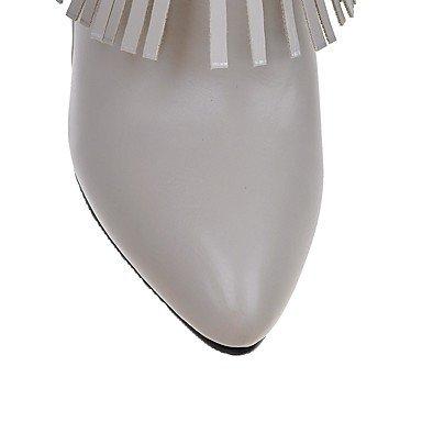 LFNLYX Damen-Stiefel-Outddor / Büro / Lässig-Kunstleder-Stöckelabsatz-Absätze / Modische Stiefel-Schwarz / Rot / Weiß / Grau White