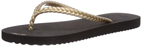 flip*flop slim chica Damen Zehentrenner Mehrfarbig (004 black/gold)