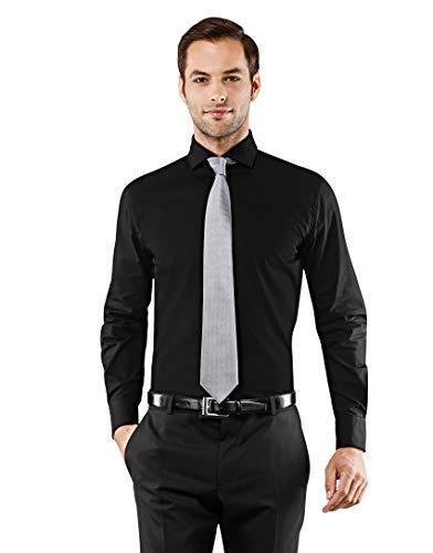 Vincenzo boretti camicia uomo eleganti, taglio normale/regular-fit, colletto francese, manica lunga, in tinta unita - non stiro/non-iron nero 39/40