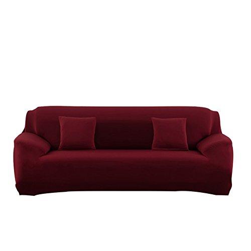 watta Stretch Elastic Sofa Schonbezug 1234-Sitzer-Sofa Couch Polyester Spandex Fabric Protector 3 Seater/(190-230cm) weinrot