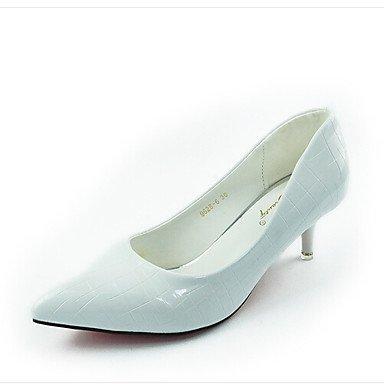 WIKAI Donna Slingback tacchi PU molla Slingback Casual Bianco Nero 2A-2 3/4in White