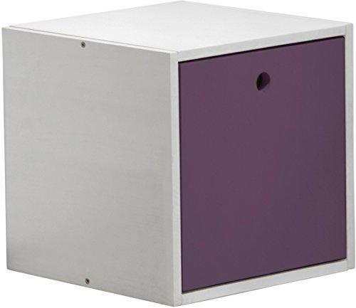 Design Vicenza Cube mit Abdeckung, Holz, Weiß mit Lila Details -