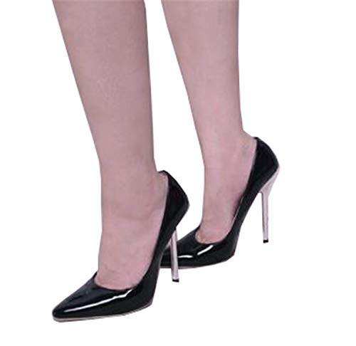 New 13CM Metal Heel Model and Show Sexy Ankle Strap Pump Large Size High-Heeled Shoes Simple Fashion Women's Shoes Black 10