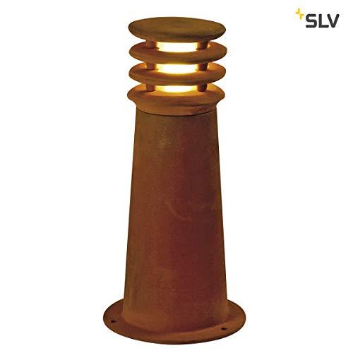 SLV LED Pollerleuchte RUSTY 40, rund | Premium Standleuchte zur individuellen Außen-Beleuchtung im Rost-Design | Outdoor Wege-Leuchte, Sockellampe, Einfahrt-Beleuchtung, Garten-Lampe | LED inklusive - Garten-lampen