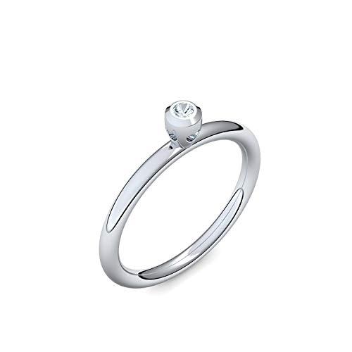 Silber Ring Aquamarin 925 + inkl. Luxusetui + Aquamarin Ring Silber Aquamarinring Silber (Silber 925) - Lovers Amoonic Schmuck Größe 52 (16.6) AM143 SS925AQFA52