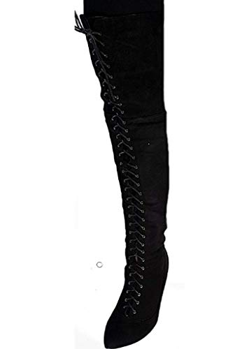 Piccoli monelli stivali donna invernali con tacco spillo 11 cm tg 39 colore nero tessuto scamosciato alta alla gamba con lacci a punta