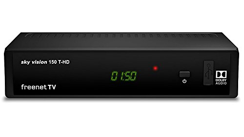 Sky vision 150 T-HD - DVB-T2 Receiver (Digitaler HD Empfänger, freenet TV, Antennen-Receiver, HEVC H.265 Decoder, HDMI, USB 2.0, LAN, SCART, DOLBY DIGITAL PLUS), Schwarz