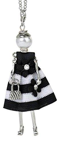 Halskette Anhänger elegante Puppe Kleid Schwarz und Weiß mit Blumen.