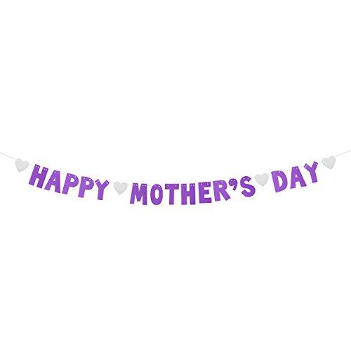 luoem Happy Mother 's Day Banner Glitzer Streamer Mutter 's Day Wimpelkette Girlande Dekoration Mutter 's Day Gastgeschenken (lila)