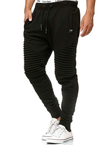 Indicode Herren Bate Jogginghose Jogginganzug Jogger Männer Trainingsanzug Baumwolle Jungen Slim Fit Black XL