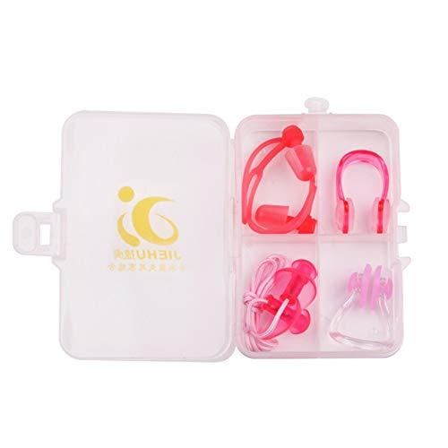 Schwimmen Ohrstöpsel tragen Seil professionelle Bad wasserdicht Mittelohrentzündung Jungen und Mädchen Silikon Erwachsene 4 Stück Set Nase Clip Ohrstöpsel (Color : Pink)