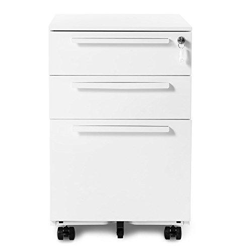 LIGHT LJ Schreibtischcontainer Büromöbel, Schubladenschrank Metall Abschließbar inkl. 3 Schubladen, Massivbauweise, Bürorollencontainer mit Schubladen, Hängemappe