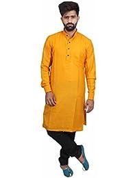 Veera Paridhaan Men's Casual Cotton Plain Full Sleeves Kurta