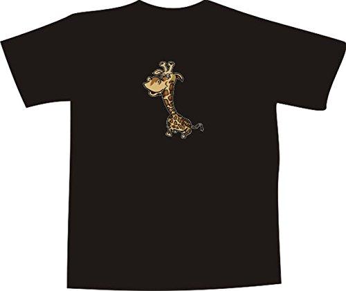 T-Shirt E941 Schönes T-Shirt mit farbigem Brustaufdruck - Logo / Grafik - Comic Design - ulkige kleine Giraffe Mehrfarbig