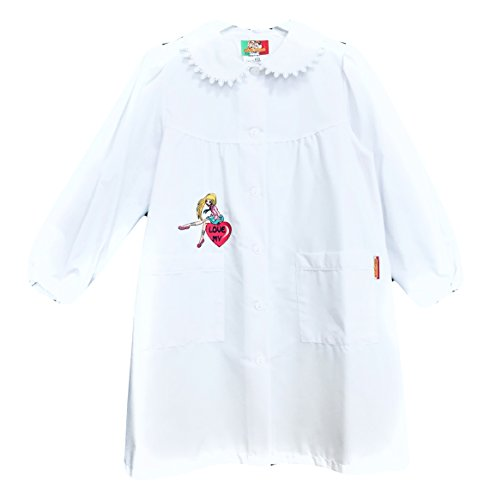 Grembiule scuola made in italy - elementare bambina colore bianco -ricamo love my - abbottonatura centrale con bottoni, colletto bianco con ricamo.