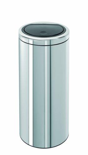 Brabantia Touch Bin 461903 Abfalleimer, mit Push-Deckel, Edelstahl, Einsatz aus Kunststoff, Flacher Deckel, 30 l - Edelstahl Push-deckel