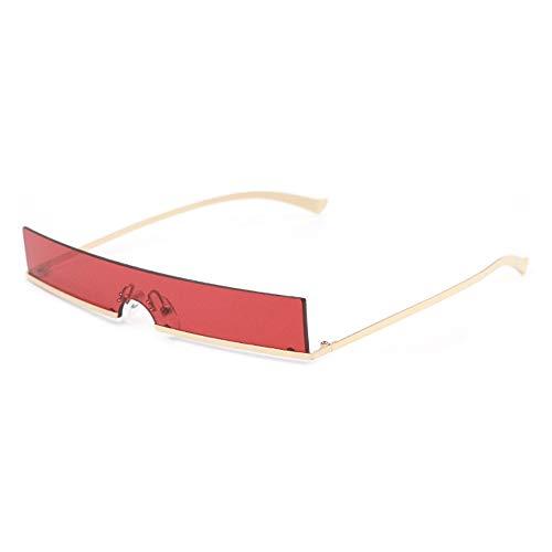 WULE-Sunglasses Unisex Metall kleine Brille UV400 Schutz Unisex Europa und den Vereinigten Staaten Mode Gold schmalen Rahmen quadratische Sonnenbrille (Farbe : Red)