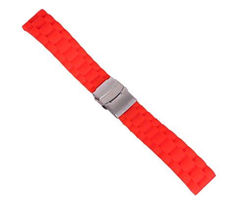 Band G-shock-uhr Ersatz (20mm rutsch Sportuhr Gurtwechsel Tauchuhr Band in rotem Gummi mit Sicherheit gefaltet Spange)