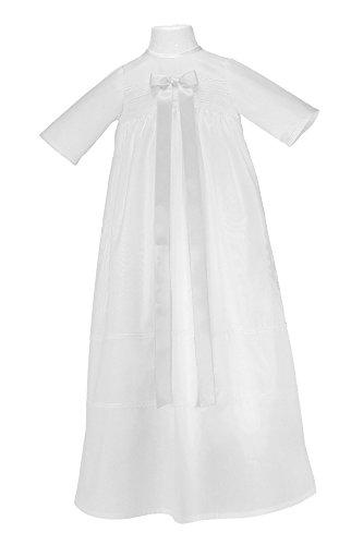 """Bateo Design Taufkleid """"Simon"""" mit weißer Schleife / Größe 62 / festliche Taufbekleidung für Mädchen und Jungen geeignet / Aus 100 % Baumwolle gefertigt / Unisex"""