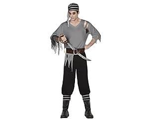 Atosa-26563 Disfraz Pirata Zombie, Color gris, XL (26563