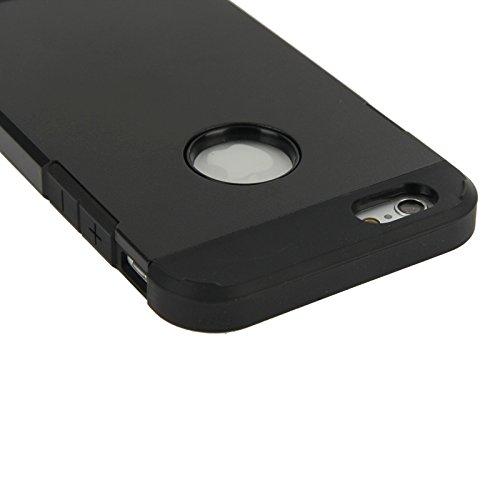 Pour IPhone 6 / 6s Housse en cuir dur Hybrid PC + TPU Tough Armor Color Hard Case JING ( Color : Red ) Black