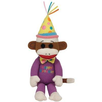 TY 7140952-Socks-Sockenaffe Happy Birthday Beanie Babies, 15 cm, braun-lila (Happy Birthday Beanie Baby)