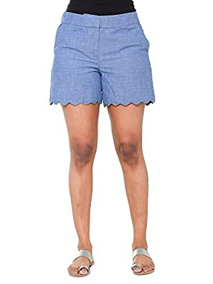 Twist Womens Blue Solid Linen Hot Shorts Casual wear & Party Wear