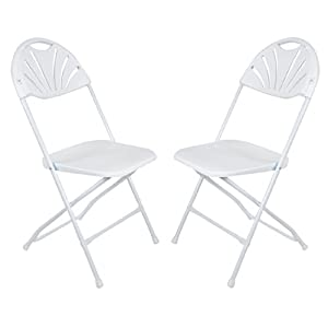 31wQVNZl5XL. SS300  - Azuma Set Of 2 White Folding Sunrise Chairs Extra Seating For Christmas Xmas Dinner
