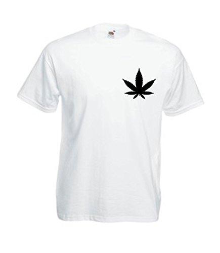 MFAZ Morefaz Ltd Herren Und Damen T-Shirt Cannabis Leafes Ganja Weed THC Men/Ladies Rasta Kurzarm Shirt 420 (White T-Shirt Leaf Black, S)
