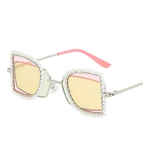 HYUHYU Mode Flip Retro Sonnenbrille Für Frauen Männer Kleine Perlen Dekoration Doppelschicht Objektiv Damen Shade Party Sonnenbrille