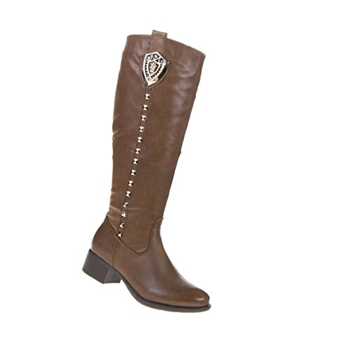 Damen Schuhe Stiefel Gefütterte Nieten Deko Boots Camel