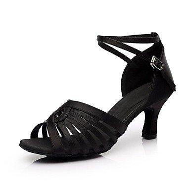 Silence @ latine Chaussures de danse pour femme en satin Talon Noir noir