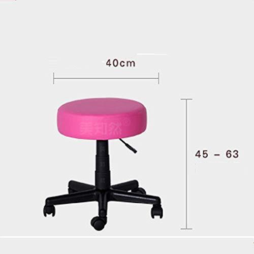 Gwgbxx Aufzug Bar Tisch Stuhl drehen zurück Friseurstuhl hohen Fuß Stuhl Friseur Schönheit Hocker (Color : Pink) (Stühle Friseur Antik)
