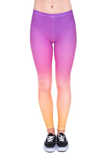 terns Women's Yoga Leggings Gym Fitness Running Pilates Tights Skinny Pants Size 6-10 Stretchable-Rainbow Ombre ()