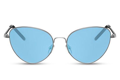 Cheapass Sonnenbrille Damen rund Cat-Eye Katzenauge Silber Blau UV400 Metall