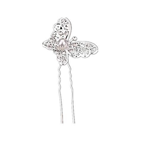 Beafavor Braut Schmetterling Perle Haarschmuck Hochzeitskleid Kostüm Kopfbedeckung Uförmige Haarnadel (Silber)