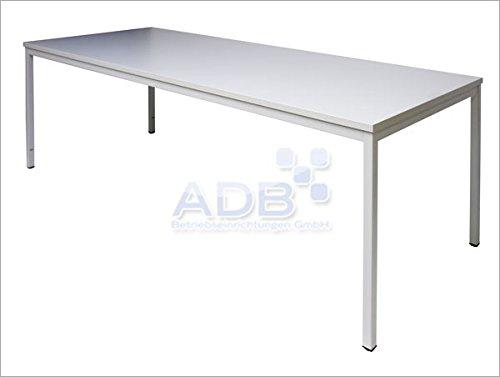 ADB Schreibtisch L80 120 160 200 x B80xH76 cm Lichtgrau, Tischgröße:200 x 80 x 76 cm
