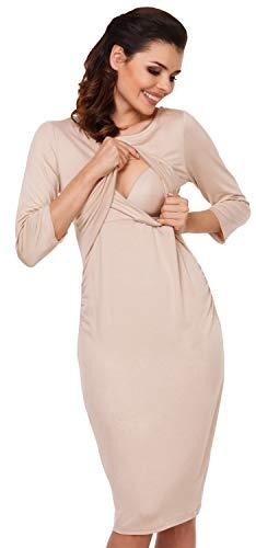 Zeta Ville - Still Kleid Diskretes Schwangere Rundhalsausschnitt - Damen - 972c (Beige)
