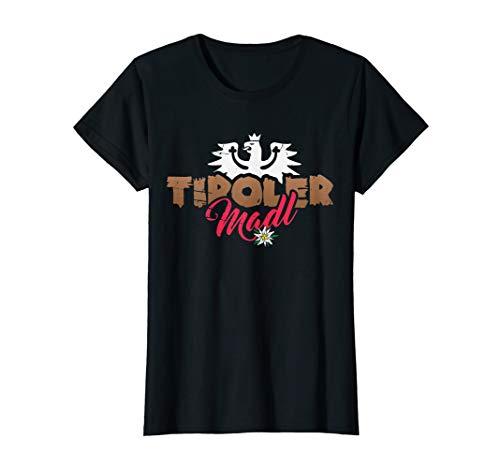 Tirol T-Shirt Tiroler Madl mit Adler und Edelweiß Retro Look -