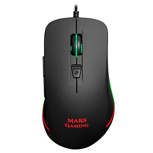 Mars Gaming MM118 - Ratón Gaming de 9800 dpi (iluminación LED RGB, 6 Botones...