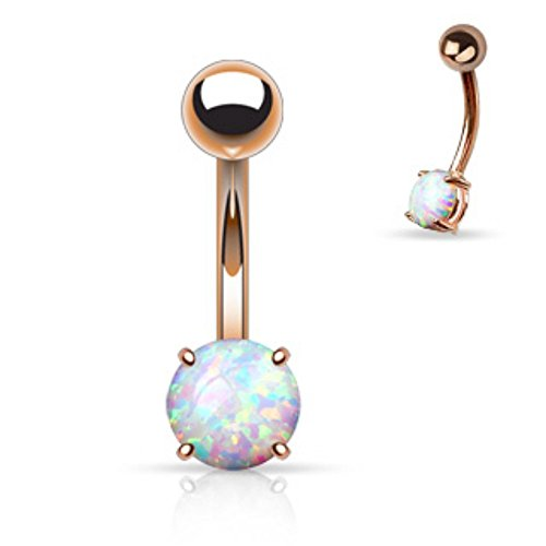 Covet Jewelry Bauchnabelring Chirurgenstahl 316L Opal Krappenfassung - Rose Gold (Short Belly Button Ringe)