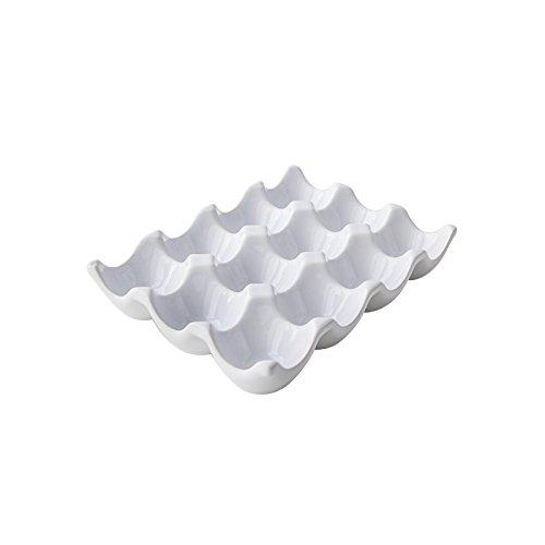Bandeja de cerámica 12soporte para huevos bandeja caja para almacenamiento de lado, cerámica, blanco