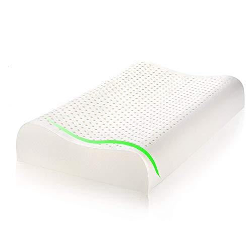 MaxHome Almohada de Látex Natural, AplusT Ortopédica y Terapéutica diseñada para Reducir Dolor de Cuello...