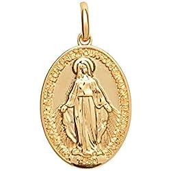 Tata Gisèle © Pendentif Médaille en Plaqué Or Ovale avec Vierge Marie - Sachet Cadeau Velours Offert