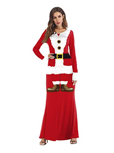 Dress Up Xmas Kostüm - SDLRYF Weihnachtsmann Kostüm Weihnachten Kostüm Cos Dress Up Kugel Western Santa Langarm Kleid, L/XL